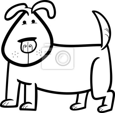 Cartoon-doodle von niedlichen hund für färbung leinwandbilder ...