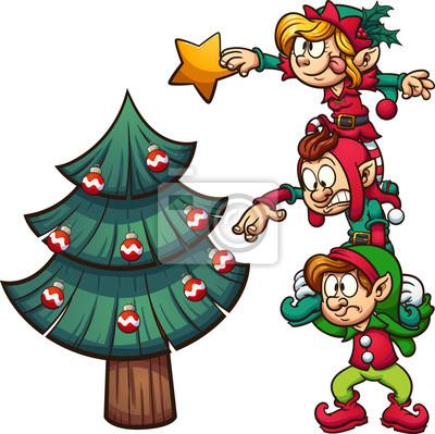 Cartoon Elfen Stehen Auf Einander Schmücken Einen Weihnachtsbaum