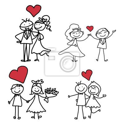 Cartoon Gluck Handzeichnung Hochzeit Leinwandbilder Bilder Nubes