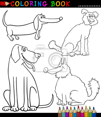 Cartoon hunde oder welpen malvorlagen leinwandbilder • bilder ...