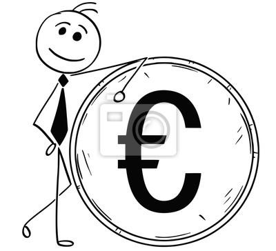 Cartoon Illustration Der Lächelnden Business Man Lehnt Auf Große