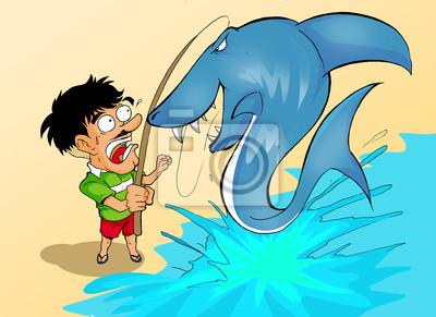 Cartoon Illustration eines Mannes, Angeln und fangen einen Hai