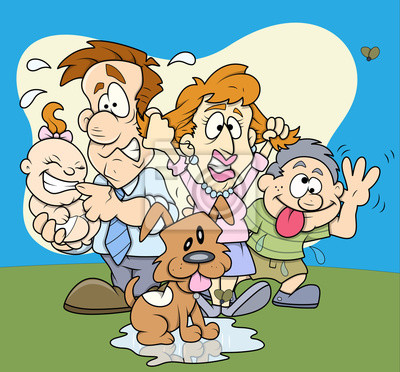 Cartoon Lustige Familie Porträt Clip Art Leinwandbilder Bilder Weh