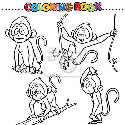 Cartoon malbuch - affe leinwandbilder • bilder Schimpansen, Primaten ...