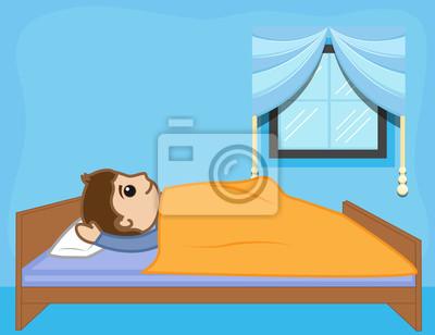 Cartoon Mann Liegt Auf Bett Leinwandbilder Bilder Erwachen Gute