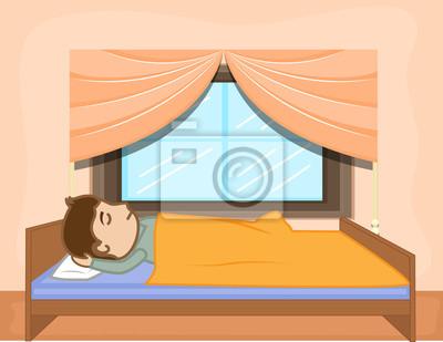 Cartoon Mann Schlaft Auf Bett Leinwandbilder Bilder Erwachen Gute