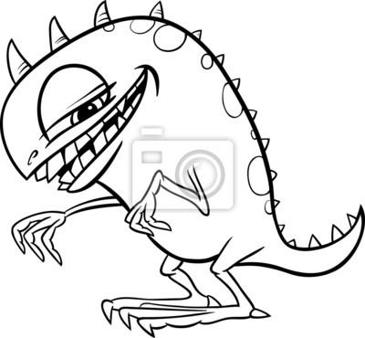 Cartoon-monster illustration für färbung leinwandbilder • bilder ...