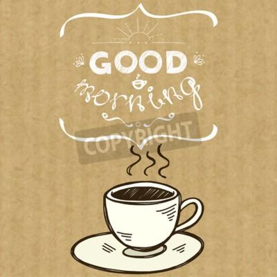 Cartoon Morgen Tasse Kaffee Hand Gezeichnet Gekritzel Tasse