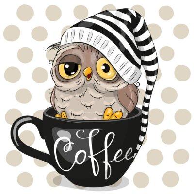 Bild Cartoon owl is sitting in a Cup of coffee