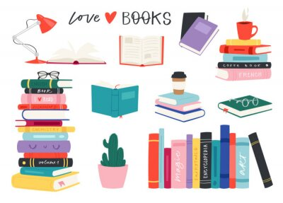 Bild Cartoon reading set of hadrdrawn books. Vector illustration for reading lovers with open books, piles, colorful covers, in a stack, in a group, closed for web, library, store, study.