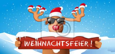 Weihnachtsfeier Cartoon.Bild Cartoon Rentier Mit Weihnachtsmütze Hält Schild Weihnachtsfeier