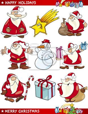 Themen Zu Weihnachten.Bild Cartoon Satz Von Weihnachten Themen