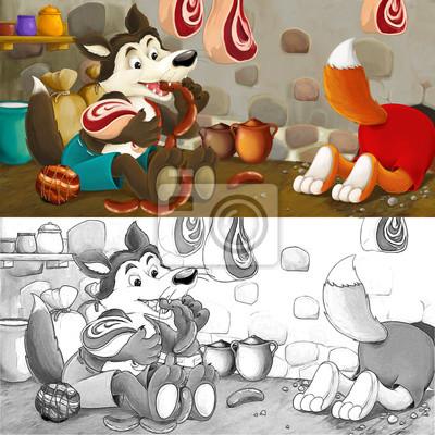 Cartoon Szene Von Fuchs Und Wolf Stehlen Lebensmittel Aus Dem