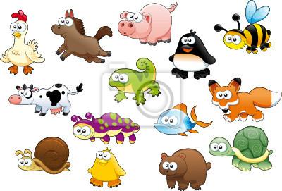 Cartoon -Tiere und Haustiere