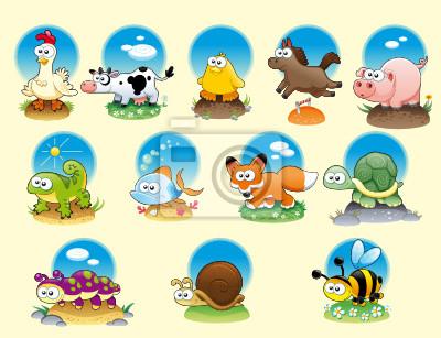 Cartoon-Tiere und Haustiere mit Hintergrund