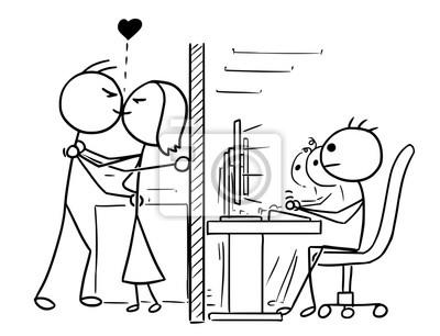 Cartoon Von Mann Und Frau Paar In Der Liebe Kussen Im Buro Job