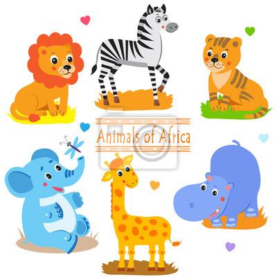 Bild Cartoon Waldtiere Pack Cute Vektor Gesetzt Vektor Tiger Vektor Giraffe