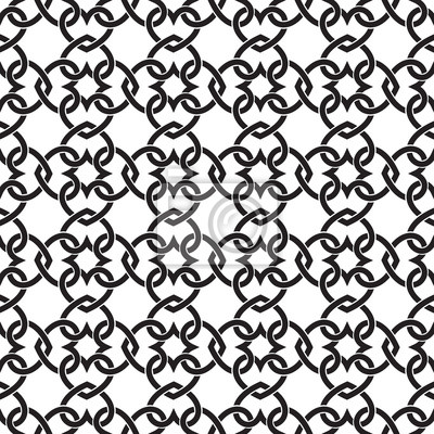 Chain armor of the links in form of hearts. Celtic seamless pattern with swatch for filling. Fashion geometric background for web and tattoo design.
