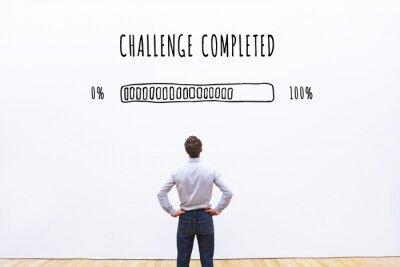 Bild challenge completed progress loading bar, concept of achievement process
