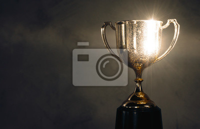 Bild champion golden trophy placed on wooden table