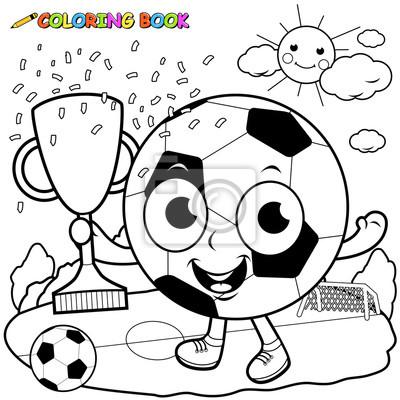 Bild Champion Karikatur Fußball Ball Holding Trophäe Ausmalbilder