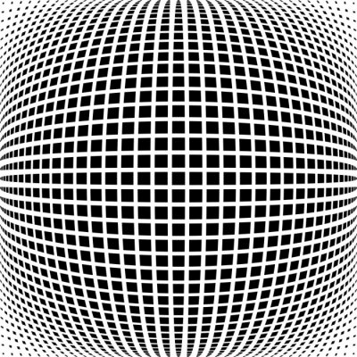 Checked pattern in spherical shape. Grid texture.