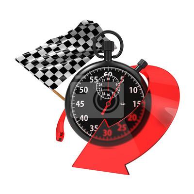 Checkered Flag mit Stoppuhr und Pfeil.