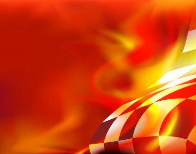 Bild Checkered Flagge Hintergrund und roten Flammen