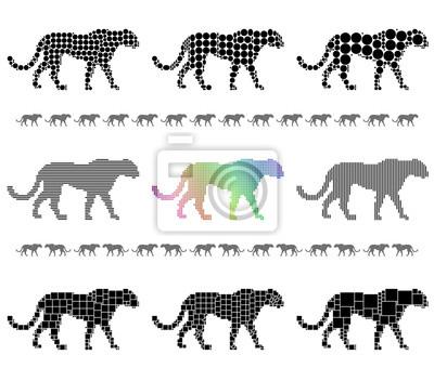 Cheetah silhouette mosaic set