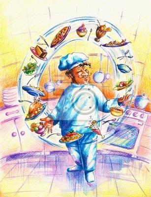 Chef in der Küche Jonglieren mit Lebensmitteln.
