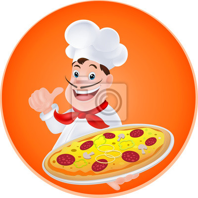 Bild Chef mit einer Pizza in der Hand