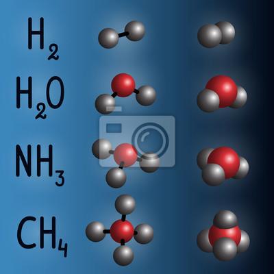 Bild Chemische Formel Und Molekülmodell Von Wasserstoff Wasser Ammoniak