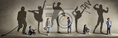 Bild Childhood and dream about big and famous future. Conceptual image with boy and girl and shadows of fit athlete, hockey player, bodybuilder, ballerina. Creative collage made of 2 models.