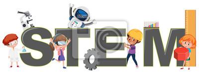 Bild Children with STEM logo