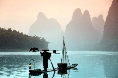 Bild Chinese Mann Fischerei mit Kormorane Vögel