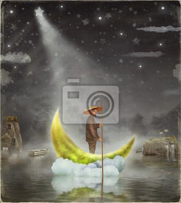 Chinesisch Mann steht auf Mond am Morgen Nebel