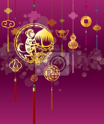 Chinesische neujahr affe illustration mit goldenen dekoration ...