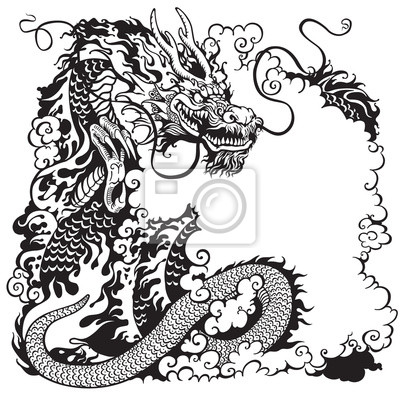 Chinesischer drache schwarz weiß leinwandbilder • bilder feng shui ...