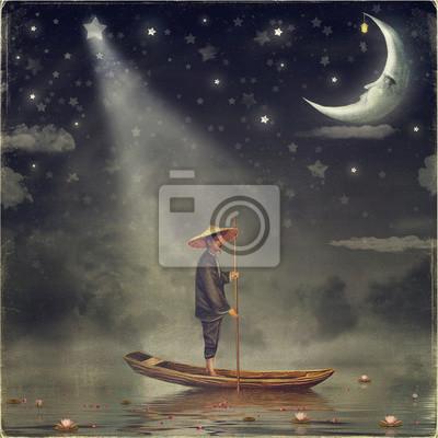 Chinesischer Mann steht im Boot am Fluss