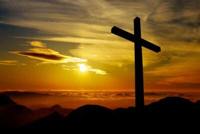 Bild Christian cross on sunset background