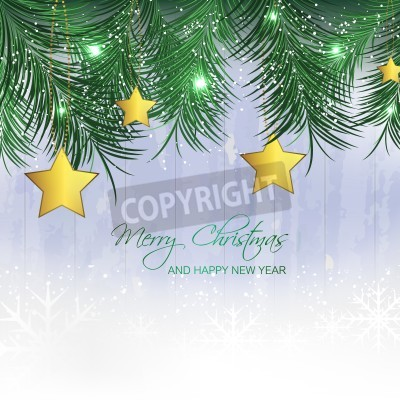 Bild Christmas background with gold stars, pine needles and snowflakes for your greeting card, vector illustration