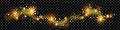 Bild Christmas golden magic dust, shine glitter wave on transparent background, holiday sparkling stars. X-mas bright yellow swirl, New Year shiny spray, galaxy sky. Fairy lights, magic dust illustration