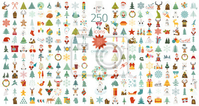 Bild Christmas, New Year holidays icon big set. Flat style collection. Vector illustration