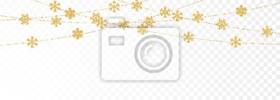 Bild Christmas or New Year golden decoration on transparent background. Hanging glitter snowflake. Vector illustration