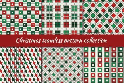 Bild Christmas seamless pattern collection. Holiday backgrounds set. Print kit in traditional colors. Repeated rhombuses, squares,diamonds motif geometric ornaments. Vector scrapbook digital paper
