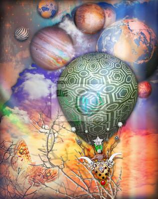 Cielo fiabesco und fantastico mit mongolfiera steampunk, farfalla und pianeti