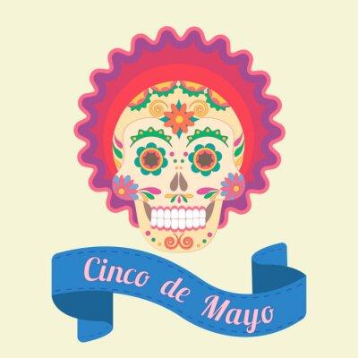 Bild Cinco de Mayo, gemalt Schädel in nationalen Traditionen von Mexiko