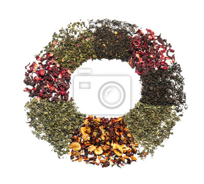 Bild Circle made of different types of dry tea leaves on white background