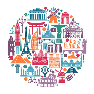 Circle of symbols Icons world tourist attractions and architectural landmarks