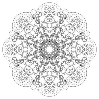 Bild Circular Muster mit Vögeln und Blumen in Doodle-Stil